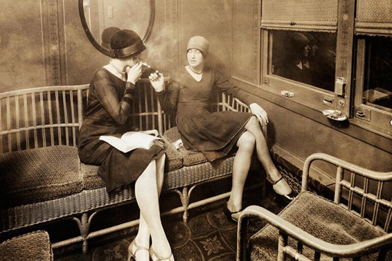 Bernays also organized a PR stunt equating ladies smoking with women's rights. Cigarette sales among women took off. © Underwood & Underwood/Corbis