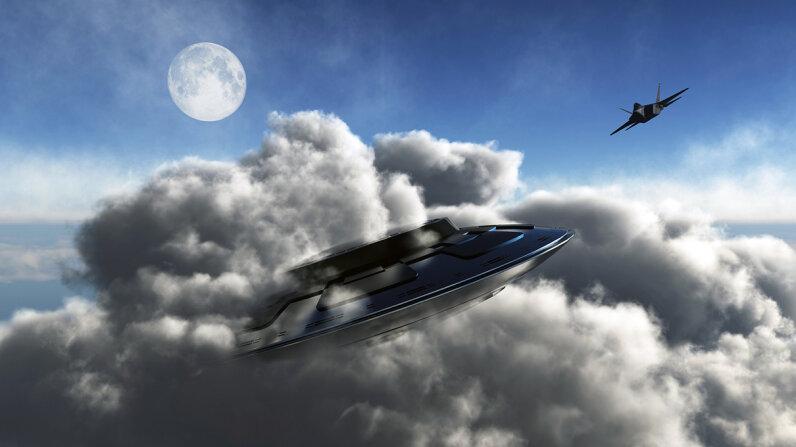 raptor jet chasing UFO