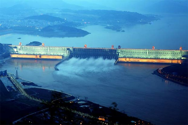 The Three Gorges discharges water during a flood peak in 2012 in Hubei, China TPG/Getty Images