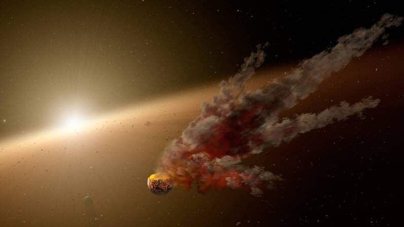 Epic smash-up between an asteroid and a protoplanet