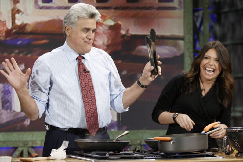 """Rachael Ray cooking with """"Tonight Show"""" host Jay Leno in 2006. Paul Drinkwater/NBC/NBCU Photo Bank/Getty Images"""