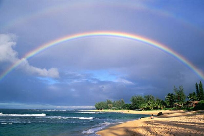 A double rainbow appears over Tunnels Beach, Hawaii; note how much fainter the second rainbow is than the first one. There can be triple and quadruple rainbows too but you probably can't see them. Russ Bishop/Getty Images