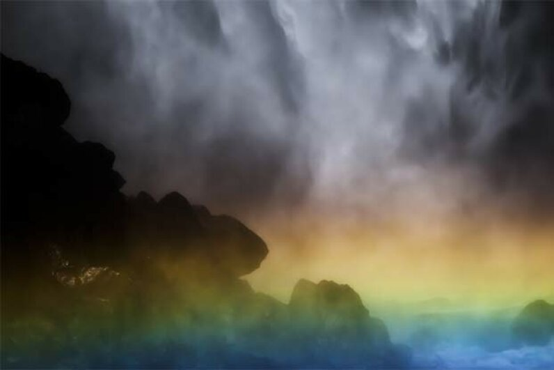 The mist over the basin of the Kegon Falls in Japan helps create a lovely rainbow. isogawyi/Getty Images