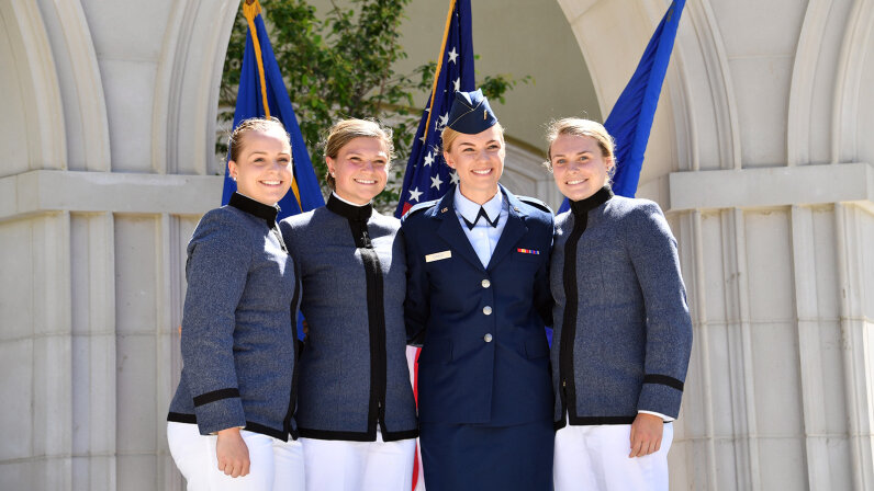 VMI female students at graduation