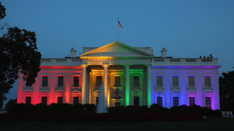 rainbow lit up White House