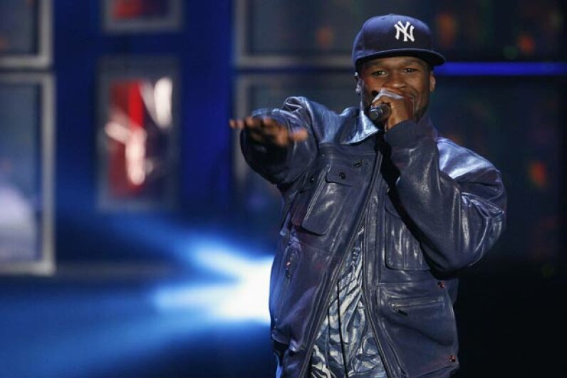 50 Cent performs at the MTV Los Premios awards in Los Angeles in 2009, a few years after his notorious gig at a bat mitzvah. You can't say he's not versatile. © MARIO ANZUONI/Reuters/Corbis