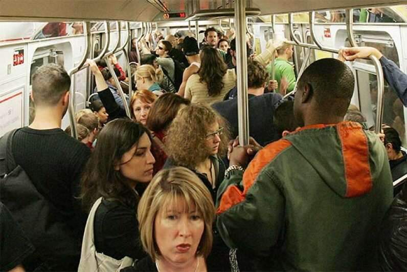 'Pack it out' doesn't only refer to how many people you can fit on the subway. It's also a reminder to take any litter with you when you disembark. Mario Tama/Getty Images