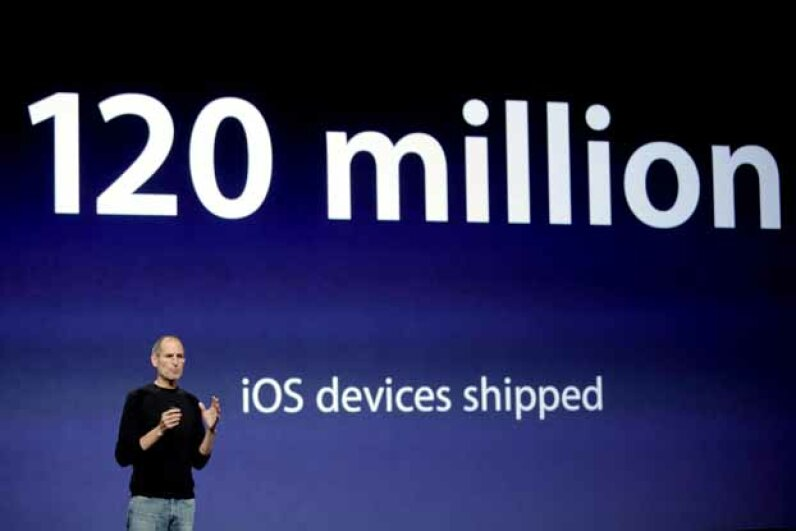 Steve Jobs gives an update at a press conference in 2010.  After the CEO of Apple passed away in 2011, some investment experts wondered about the future of the company. Ryan Anson/AFP/Getty Images