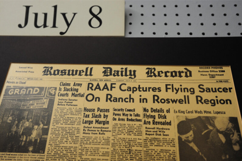 A display at the UFO Museum in Roswell, N.M., recreates headlines from the infamous incident. © Alex Milan Tracy/NurPhoto/Corbis