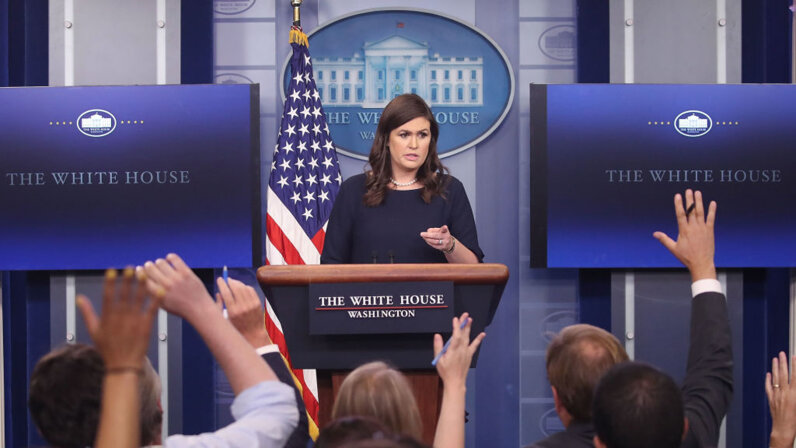 Sarah Huckabee Sanders at White House press briefing
