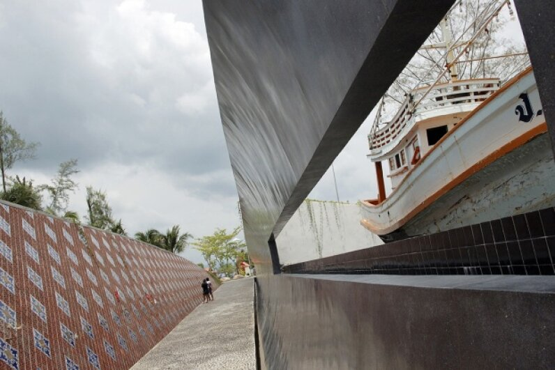 Thailand's Ban Nam Khem Tsunami Memorial Park features a boat that washed ashore during the 2004 tsunami. Thierry Falise/LightRocket via Getty Images