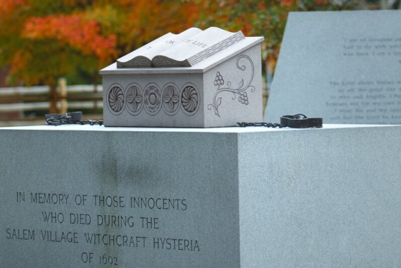 The Massachusetts town of Danvers -- formerly known as Salem -- features a memorial to lives lost during the 17th-century witch trials. Dina Rudick/The Boston Globe via Getty Images