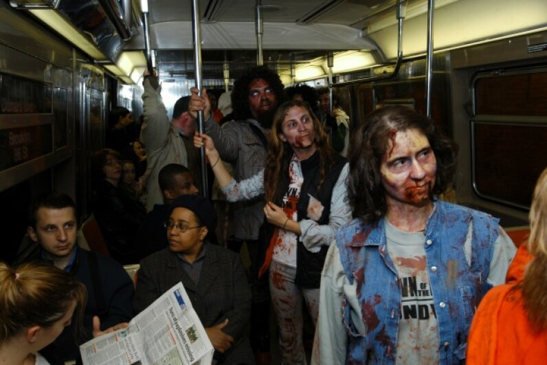 """Dawn of the Dead"" zombies take over the NYC subway in 2004 in a promotional stunt for the movie. Looks like those human riders got lucky. Stephen Lovekin/FilmMagic for Universal Home Video"