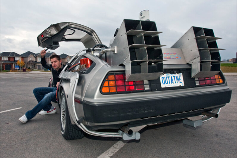 "Ken Kapalowski In his replica of the DeLorean time machine from ""Back To The Future."" Getty Images"