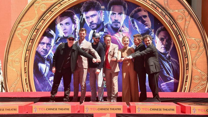 Kevin Feige, Chris Hemsworth, Chris Evans, Robert Downey Jr., Scarlett Johansson, Jeremy Renner and Mark Ruffalo, Avengers: Endgame