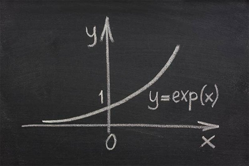 Exponential growth doesn't always mean a big jump up; it really means proportional growth. Marek Uliasz/iStock/Thinkstock