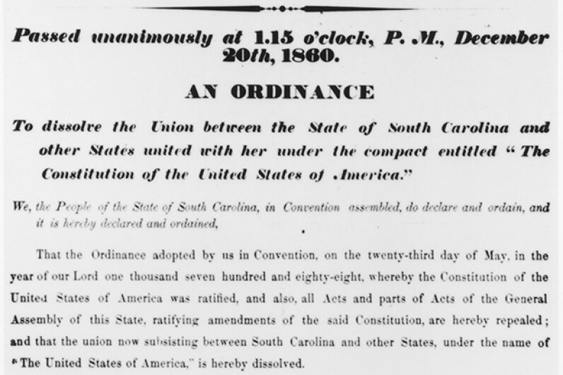 The Charleston newspaper announced South Carolina's split from the Union. The Second Palmetto Republic lasted two months before it joined up with the Confederacy. Fotosearch/Getty Images