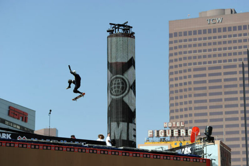 Daredevil Bob Burnquist of Brazil skates in the Skateboard Big Air Practice during the X Games 17 in Los Angeles. Harry How/Getty Images