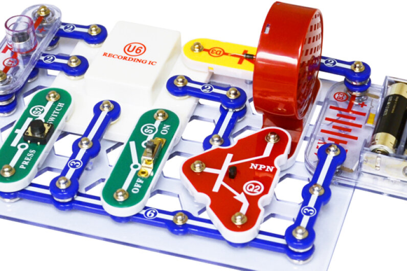 Snap Circuits toys, like this musical recorder, allow children to safely create working electrical circuits. Snap Circuits