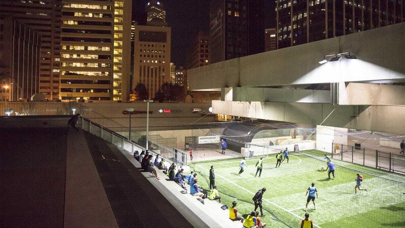transit hub, soccer