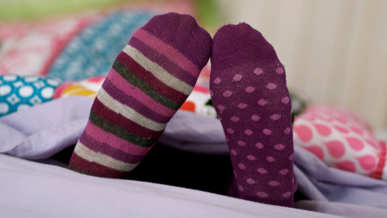 colorful socks under cover