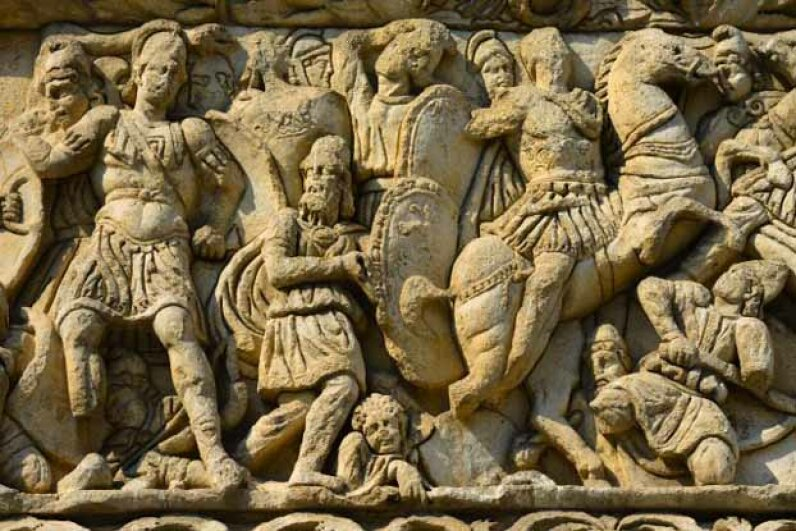 This detail from the Arch of Galerius in Greece shows the Emperor Galerius (left) in battle. Whether anyone died from his stench is not recorded. © Christophe Boisvieux/Corbis