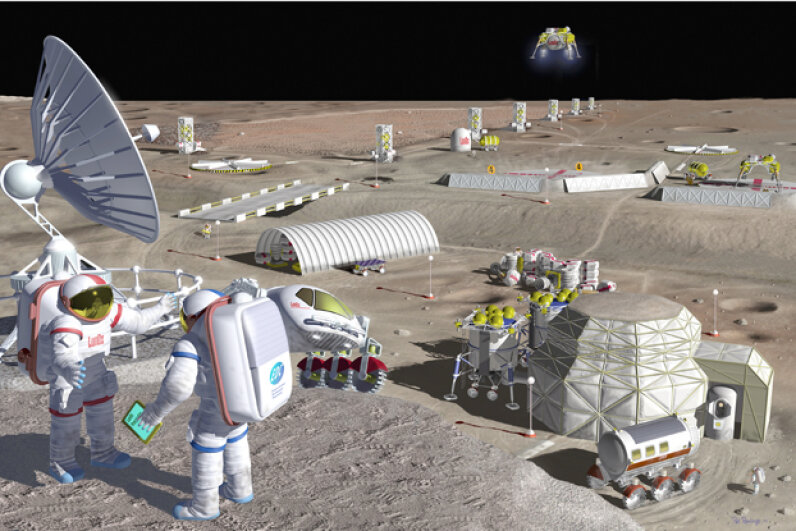 Sketch of what a commercial lunar base could look like (not does look like). Image courtesy NASA/Lewis Research Center