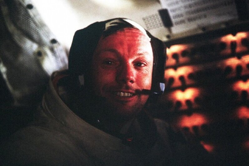 This is Armstrong, back inside the lunar module, at the conclusion of the Apollo 11 moon walk. Or was he just mugging for the camera on a soundstage somewhere? Image courtesy NASA