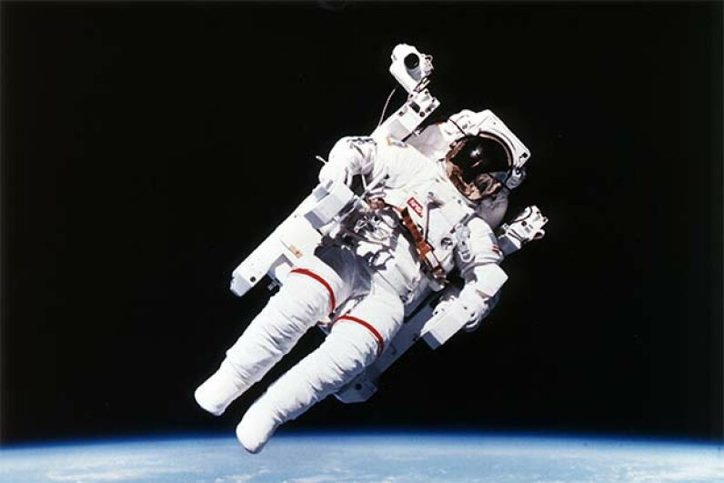 U.S. astronaut Bruce McCandless wore the first nitrogen-propelled, hand-controlled, tether-free space suit in 1984. Universal History Archive/Getty Images
