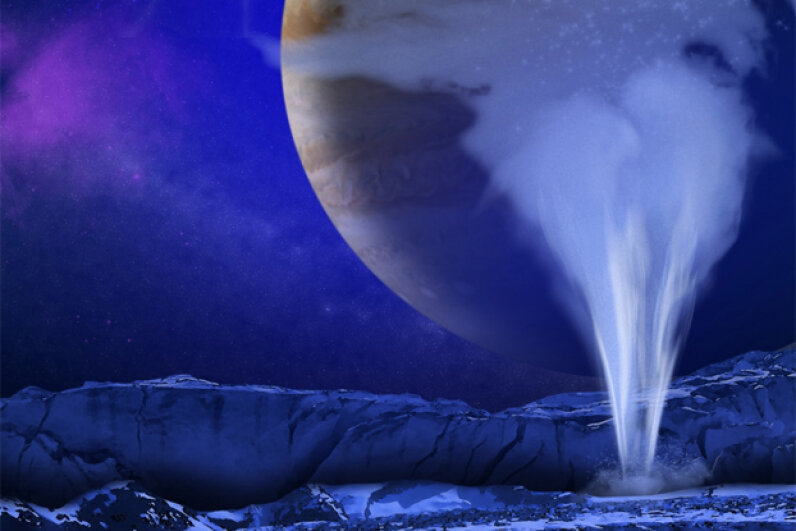 Artist's concept of one of Europa's water vapor plumes, which seem as though they could very well put Earth's geysers to shame. Image courtesy NASA/ESA/K. Retherford/SWRI