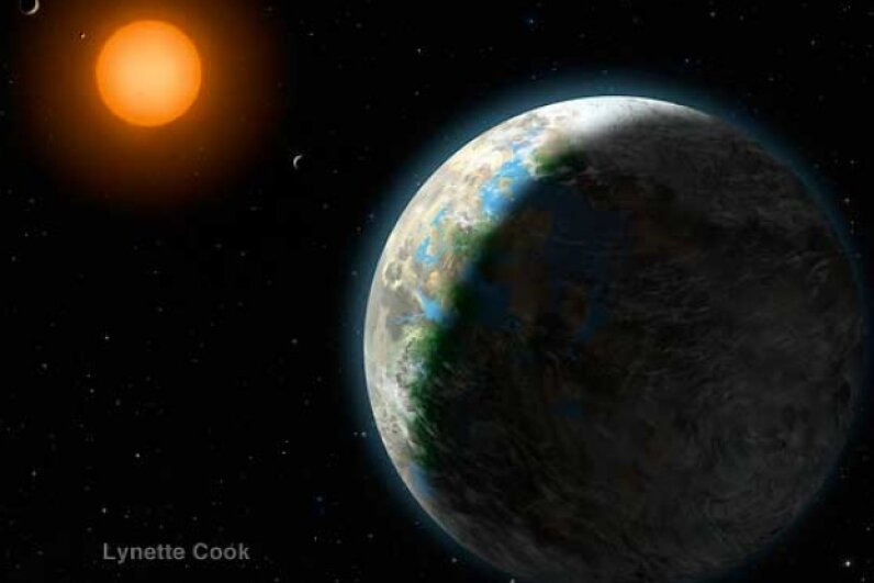 Gliese 581g is squarely within the habitable zone of its red dwarf star. Aren't you curious to see how it measures up to your earthly digs? Image courtesy Lynette Cook