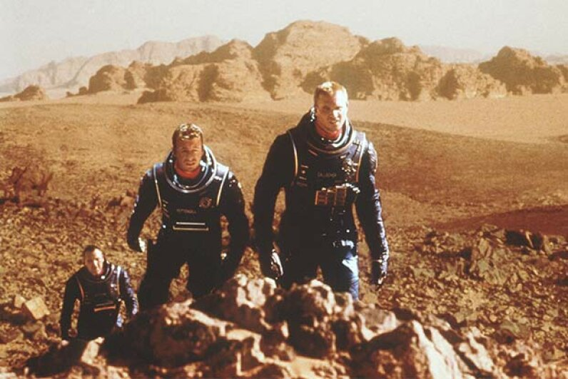 In the 2000 movie 'Red Planet,' a group of astronauts travel to Mars to investigate human living conditions on the planet. Frank Connor/Warner Bros./Newsmakers
