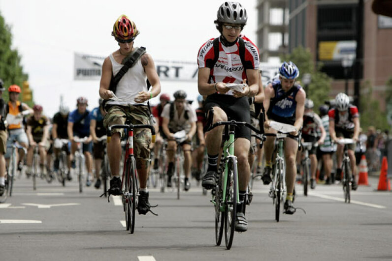 More than 700 bicycle messengers competed in the Thirteenth Annual Cycle Messenger World Championships in Jersey City, N.J. in 2005 -- a legit version of underground bike racing. David Paul Morris/Getty Images