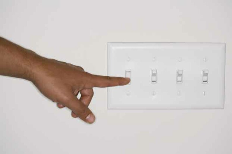 The bathroom light switch is a prime place for staph to land. Brand X Pictures/Thinkstock