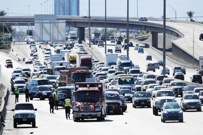 A mulitcar accident clogs roads in Las Vegas, one of the sprawliest cities on our list. David Becker/Getty Images