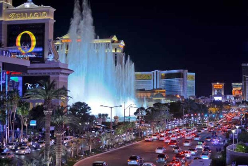 A night view of the Bellagio hotel fountains and the traffic on South Las Vegas Boulevard. san francisco photographer/Flckr/Getty Images