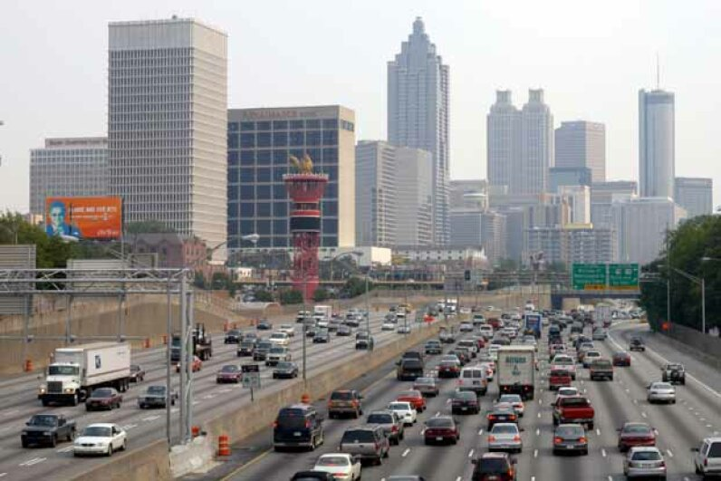 In view of the Olympic torch, traffic crawls through downtown Atlanta along Interstate 75/85 during rush hour. Barry Williams/Getty Images