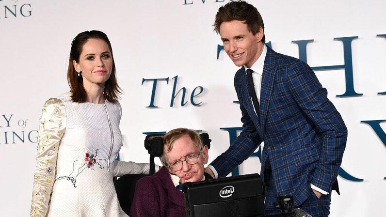 Stephen Hawking, Felicity Jones, Eddie Redmayne