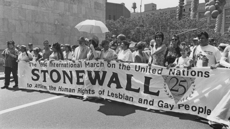 People march to commemorate the 25th anniversary of the Stonewall riots, whose legacy is enduring. Barbara Alper/Archive Photos/Getty Images