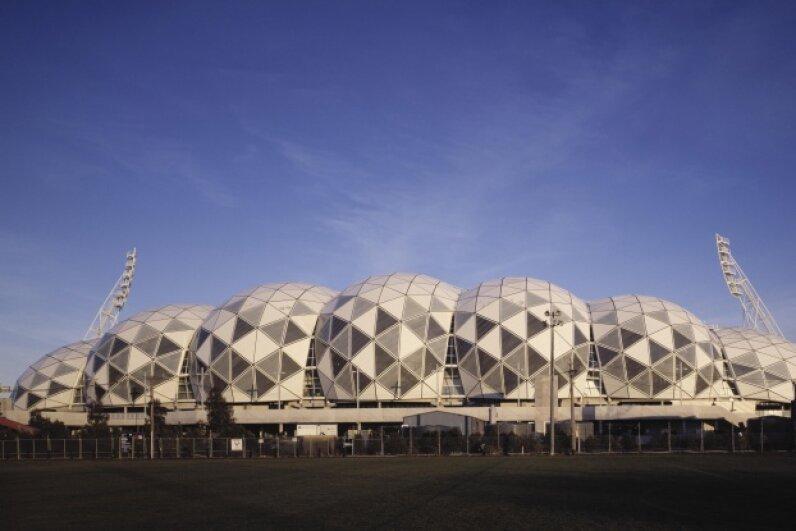 The Buckminster Fuller-inspired Melbourne Rectangular Stadium gets its photo snapped on April 26, 2011.  © Ben Hosking/Arcaid/Corbis