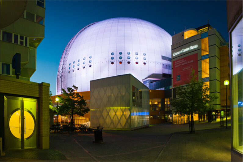 Globe Arena, also known as Ericsson Globe, is the biggest spherical building in the world. © Claudio Cassaro/Grand Tour/Grand Tour/Corbis