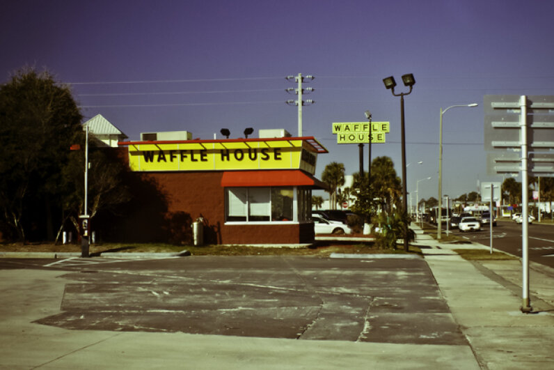 After a hurricane, FEMA officials check to see how many Waffle Houses in the area are operational and use that information to determine the severity of the storm damage. Dominic Bugatto/Flickr Vision/Getty Images