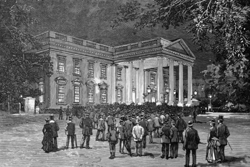 Even U.S. President Grover Cleveland had to deal with a crowd outside the White House on his wedding night in 1886. © CORBIS
