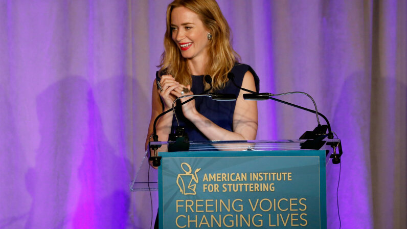Actress Emily Blunt speaks at the American Institute for Stuttering's Freeing Voices Changing Lives Gala. Cindy Ord/Getty Images for American Institute for Stuttering