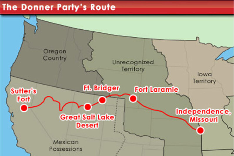 The route selected by the unfortunate Donner Party, many of whom would not live to finish it. © HowStuffWorks