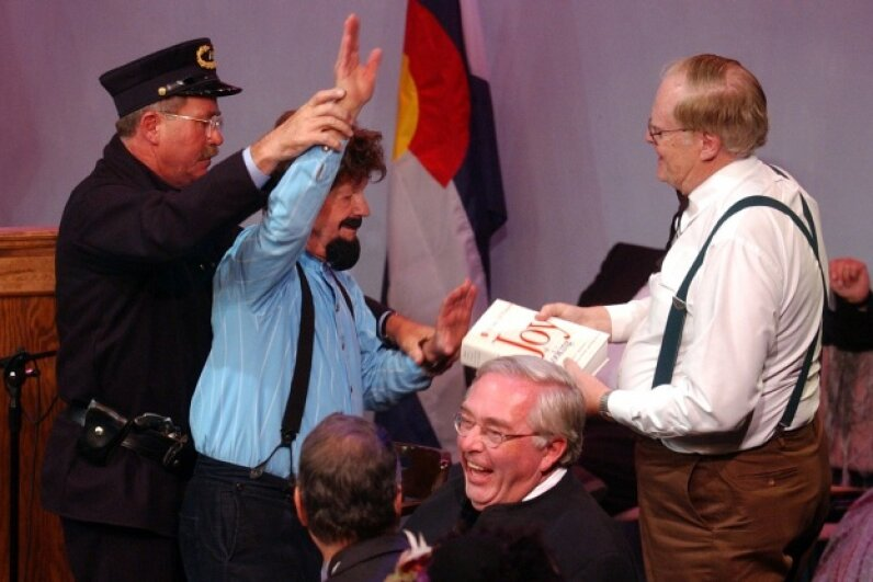 What's that uproarious scene? Why it's the 2002 mock trial for Alferd Packer at the Littleton Town Hall Arts Center in Littleton, Co. Lyn Alweis/The Denver Post via Getty Images