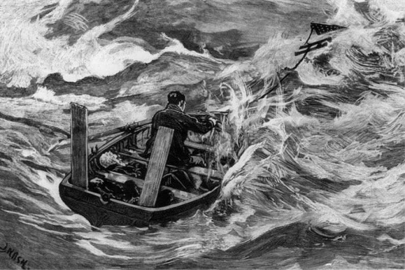 A crew member of the Mignonette uses a sea anchor in an open boat during (seriously!) stormy conditions. Original artwork: Engraving by J. Nash after sketches by Mr. Stephens, the mate of the Mignonette. Rischgitz/Getty Images