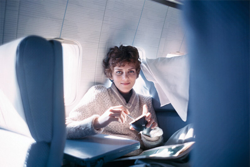 Looking surprisingly glamorous, Helen Klaben, one of the two who survived 49 days lost in the Canadian Yukon wilderness, is shown aboard the Pan Am jet that took her to Seattle after her rescue. © Bettmann/CORBIS