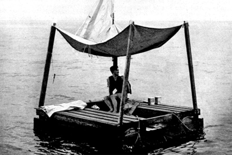 Poon Lim is shown on his raft which was rebuilt at the U.S. Navy's request for survival training in 1945. U.S. Navy/Wikimedia