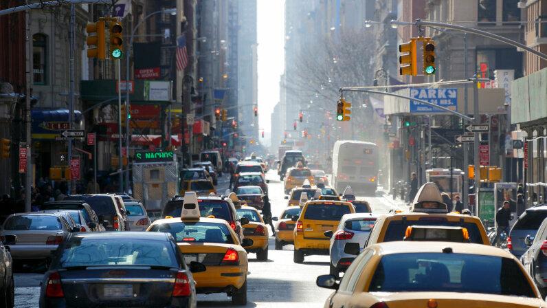 traffic lights on New York street Broadway